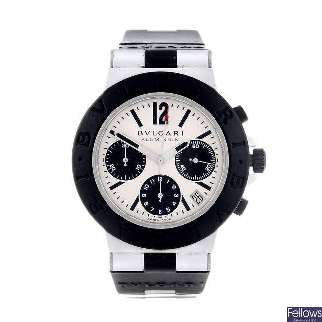 BULGARI - a gentleman's bi-metal Diagono chronograph wrist watch.