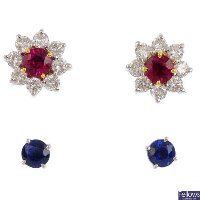 A set of diamond and gem-set earrings.