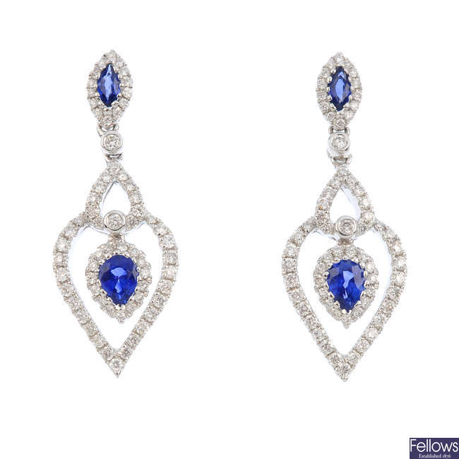 A pair of 18ct gold sapphire and diamond earrings.