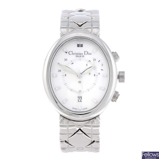 DIOR - a lady's stainless steel chronograph bracelet watch.