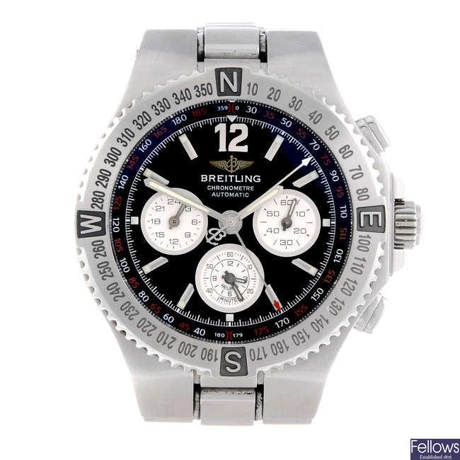 BREITLING - a gentleman's stainless steel Hercules chronograph bracelet watch.