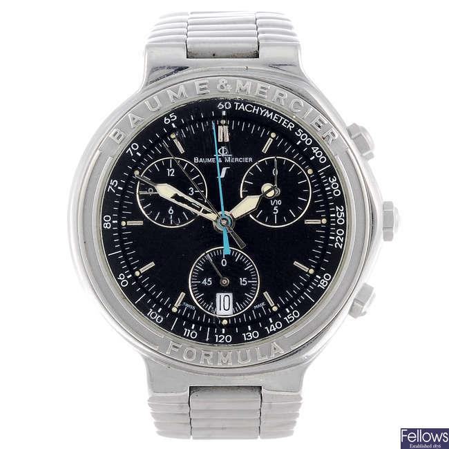 BAUME & MERCIER - a gentleman's stainless steel Formula S chronograph bracelet watch.