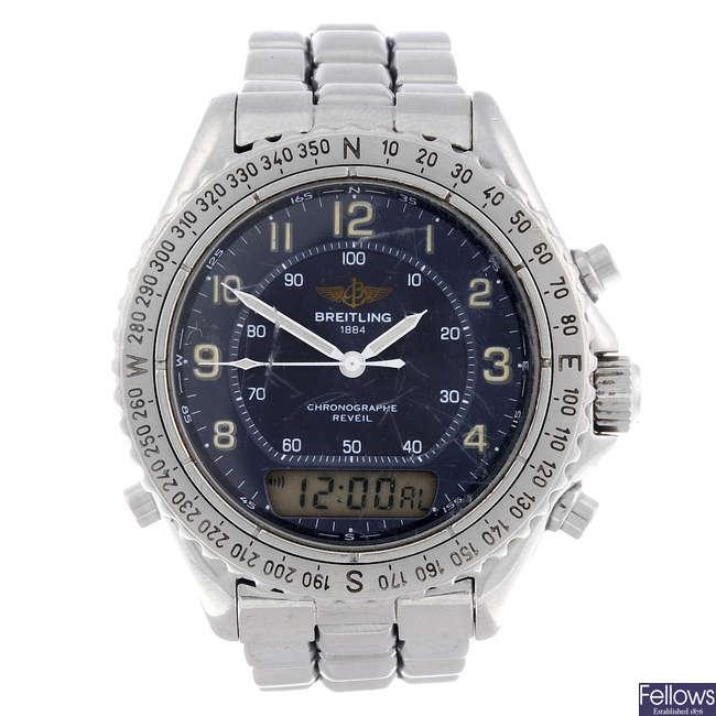 BREITLING - a gentleman's stainless steel Intruder bracelet watch.