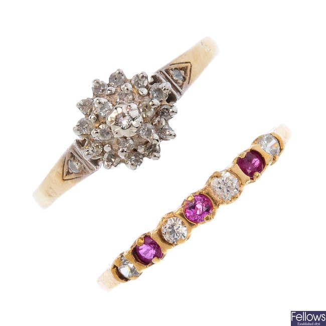 Three gem-set rings and a band ring.