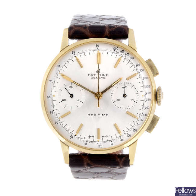 BREITLING - a gentleman's yellow metal Top Time chronograph wrist watch.
