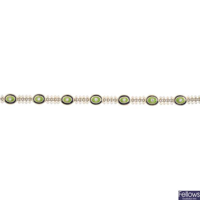 An Edwardian gold diamond, enamel and seed pearl bracelet.
