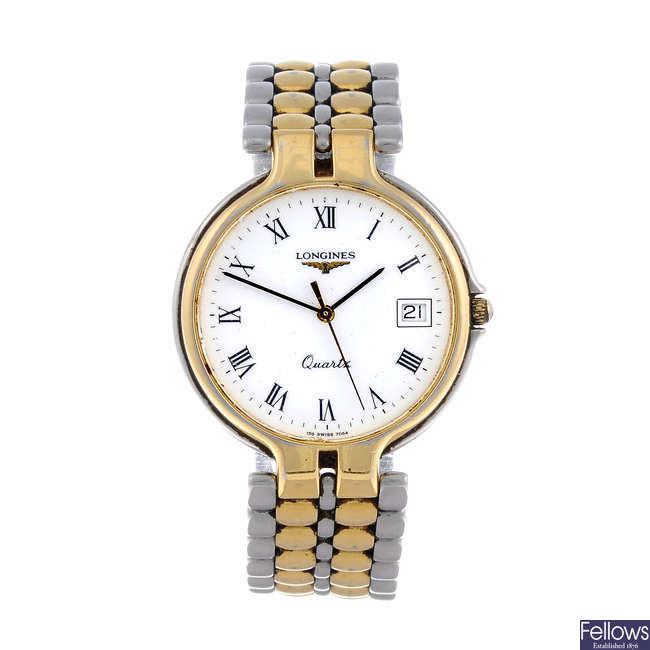 LONGINES - a gentleman's yellow metal Flagship bracelet watch.