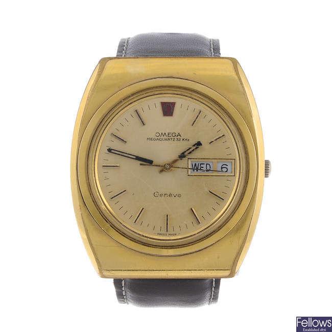 OMEGA - a gentleman's gold plated Genève Megaquartz 32Kh wrist watch.