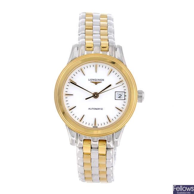 LONGINES - a lady's bi-colour Flagship bracelet watch with a Bulova wrist watch and a TAG Heuer watch head.