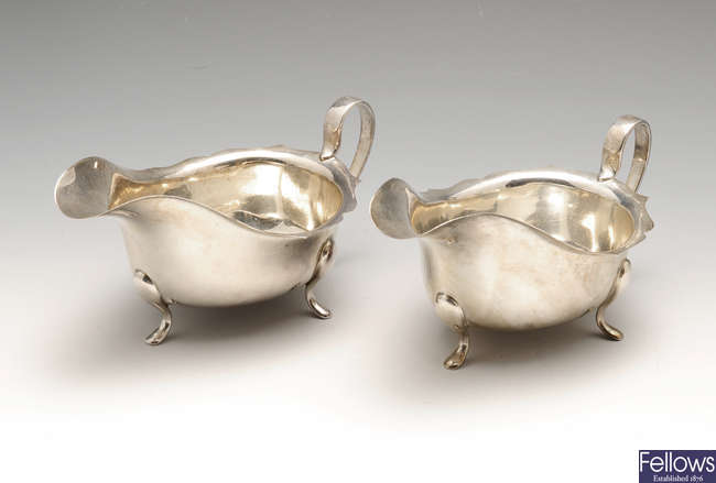 A pair of 1930's silver sauce boats.