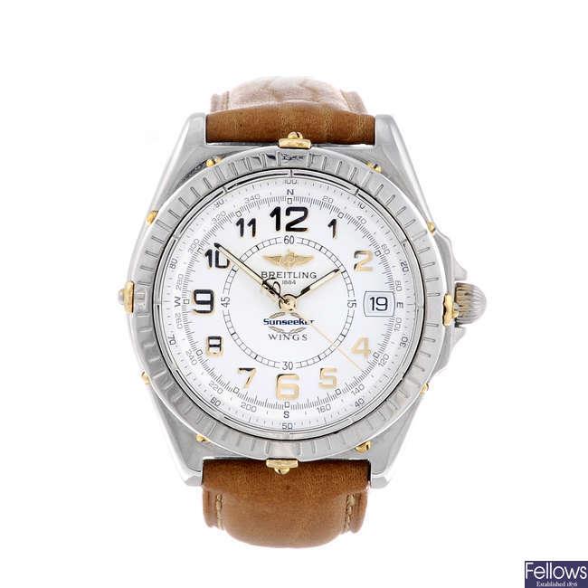 BREITLING - a gentleman's stainless steel Wings 'Sunseeker' wrist watch.