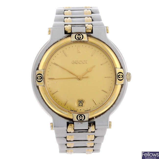GUCCI - a gentleman's bi-colour 9000G bracelet watch.