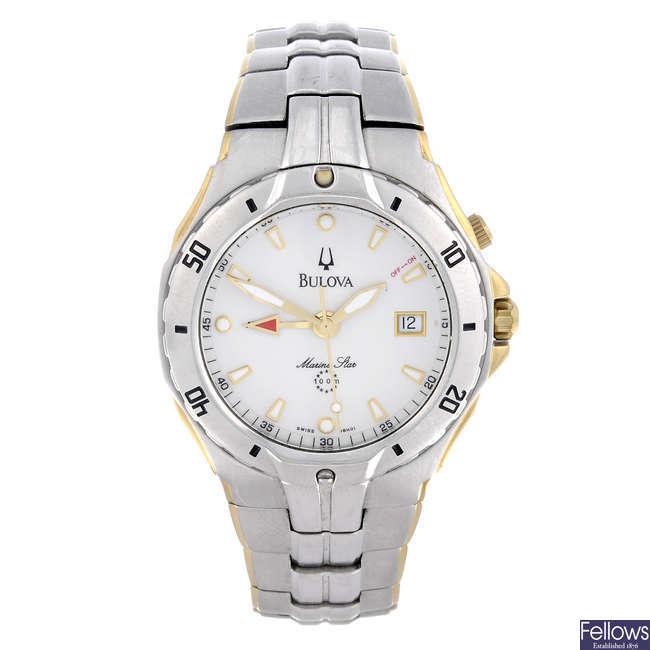 BULOVA - a gentleman's stainless steel Marine Star Alarm bracelet watch.