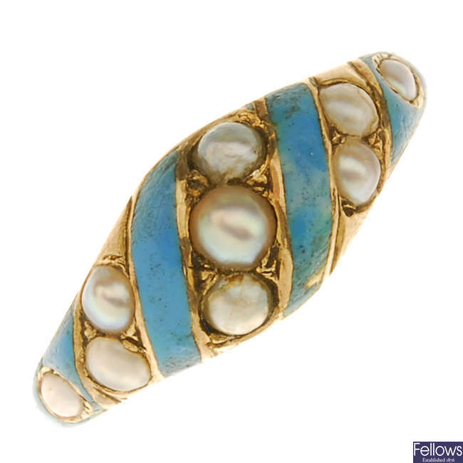 A late Victorian gold enamel and split pearl ring.