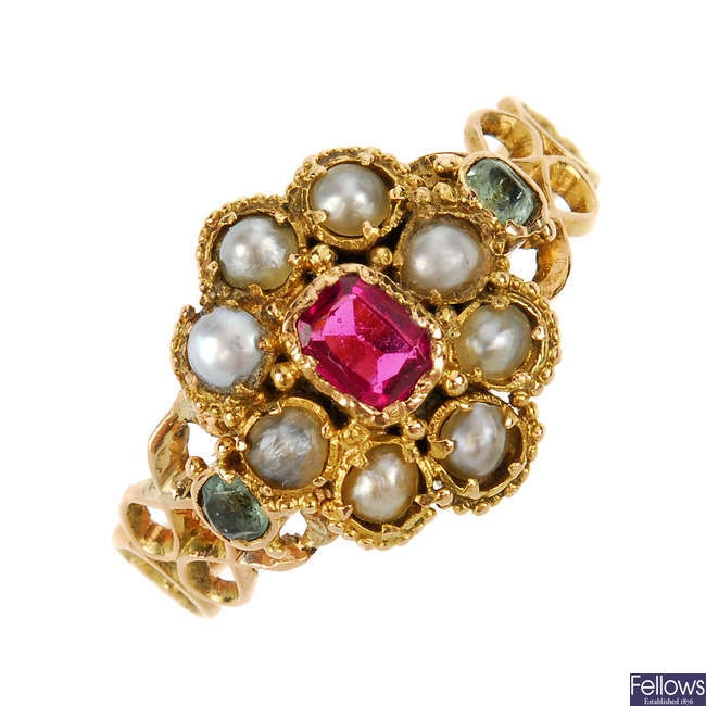 An early Victorian 15ct gold, paste, split pearl and gem cluster ring.