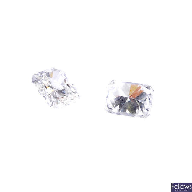 Two rectangular-shape diamonds, total weight 0.49ct.