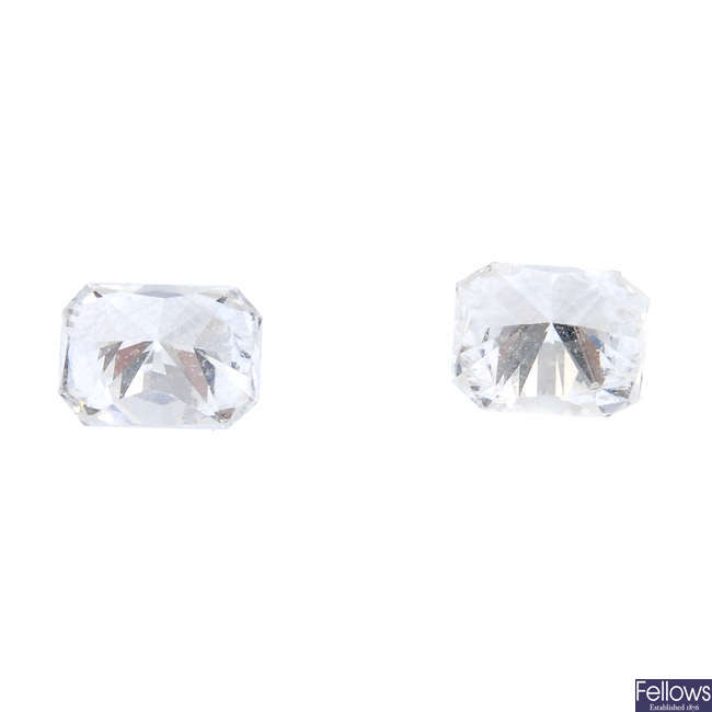 Two rectangular-shape diamonds, total weight 0.47ct.
