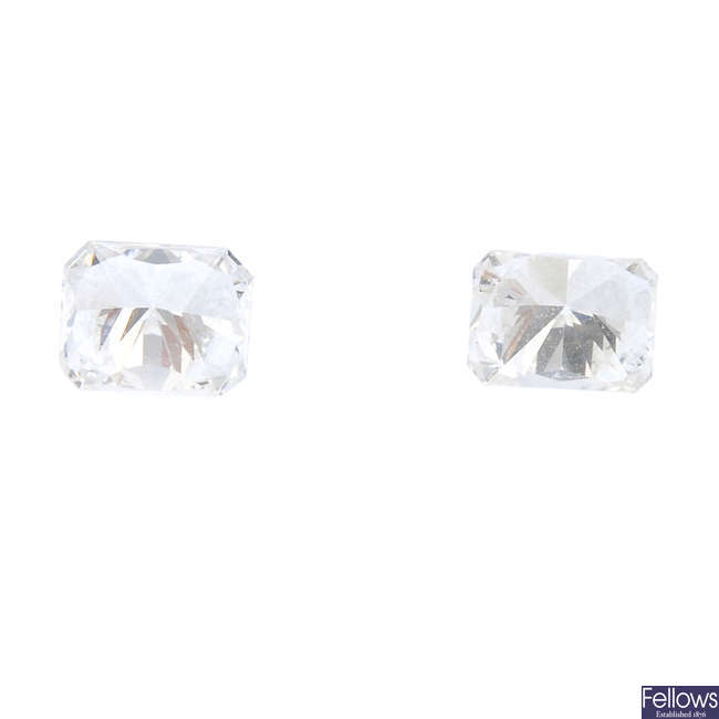 Two rectangular-shape diamonds, total weight 0.51ct.