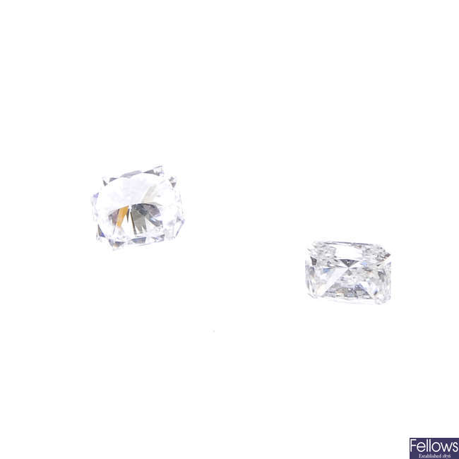 Two rectangular-shape diamonds, total weight 0.48ct.