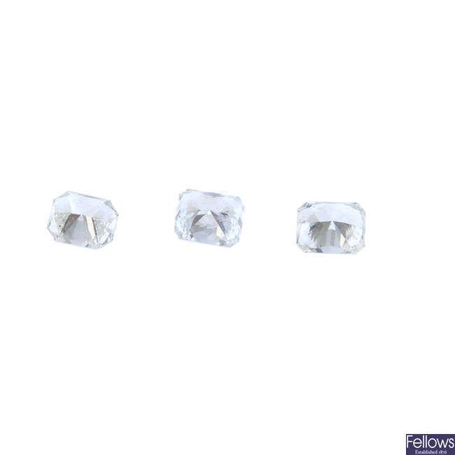 Three rectangular-shape diamonds, total weight 0.82ct.