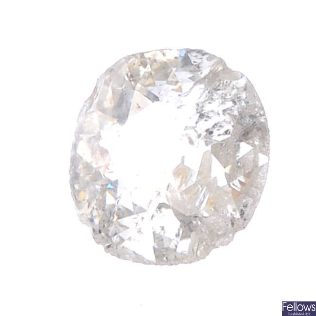 Six oval-shape diamonds, total weight 0.44ct.
