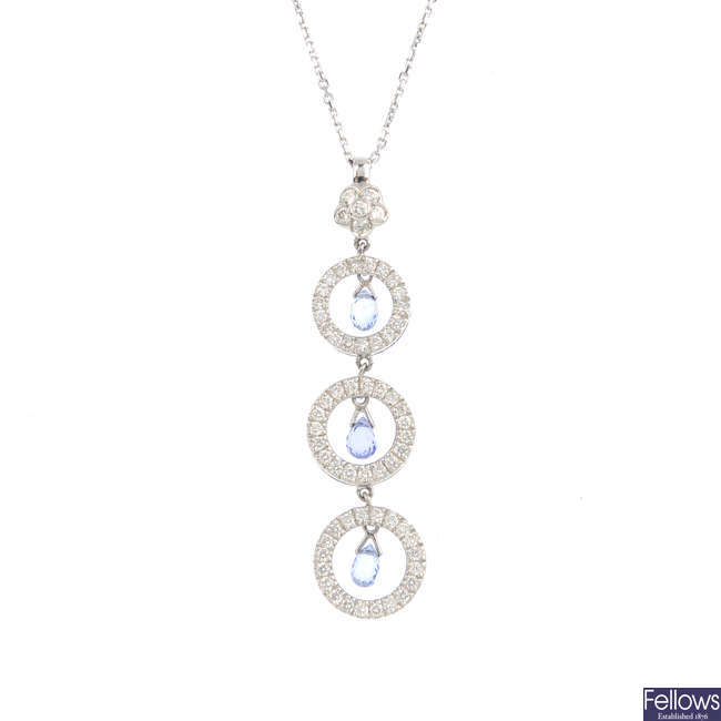 A set of 18ct gold sapphire and diamond jewellery.