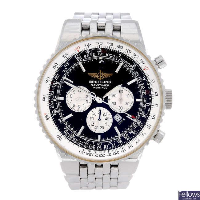BREITLING - a gentleman's stainless steel Navitimer Heritage chronograph bracelet watch.