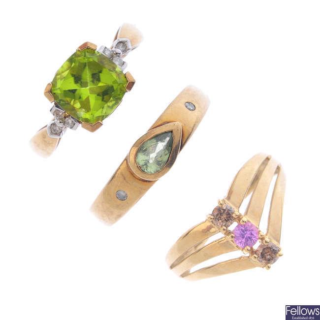 Five 9ct gold gem-set rings.