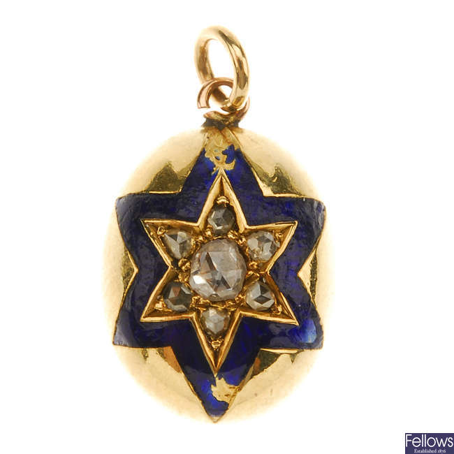 A late Victorian gold diamond and enamel pendant.