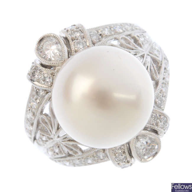 A cultured pearl and diamond cocktail ring.