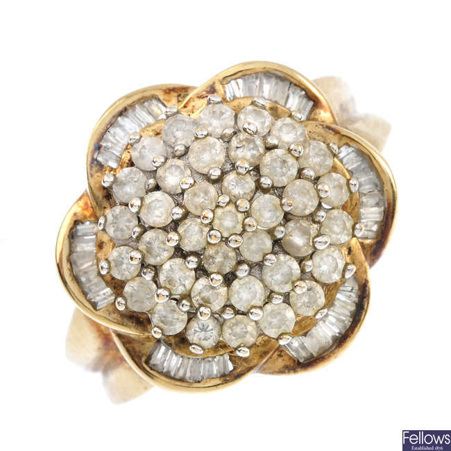 A 9ct gold diamond floral dress ring.