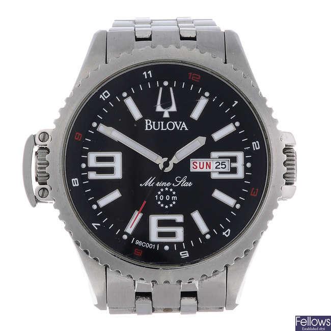 BULOVA - a gentleman's stainless steel Marine Star bracelet watch with another Bulova watch