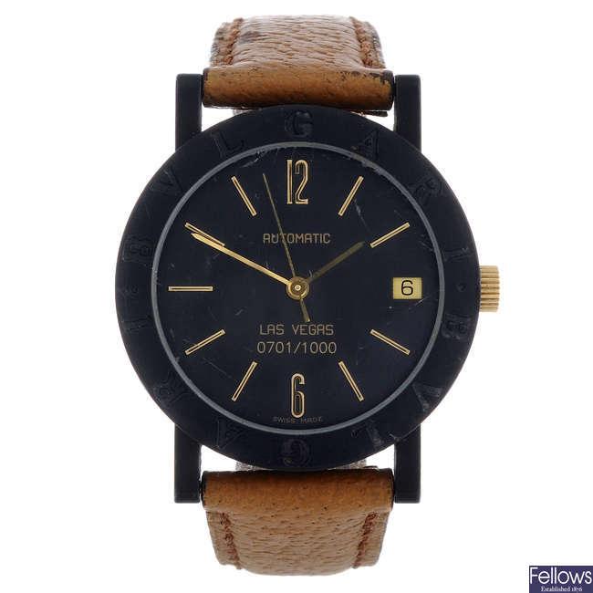 BULGARI - a limited edition mid-size black carbon fibre Las Vegas wrist watch.