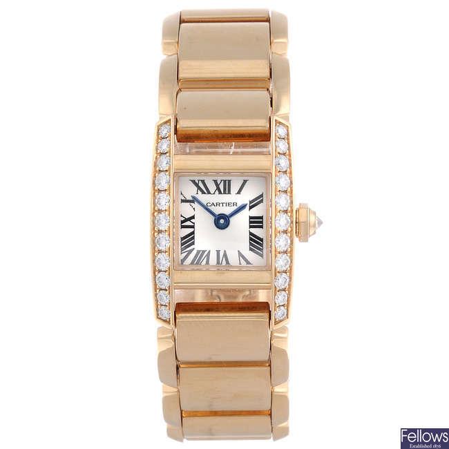 CARTIER - an 18ct rose gold Tankissime bracelet watch.