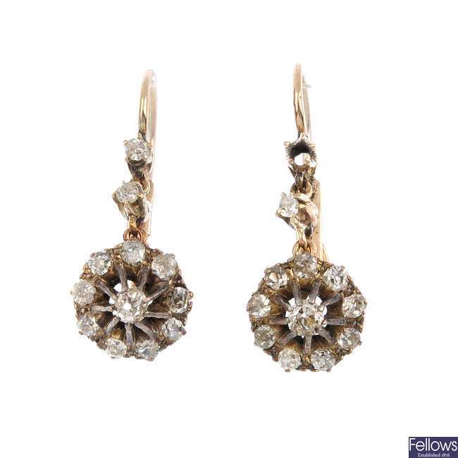 A pair of late Victorian diamond earrings.