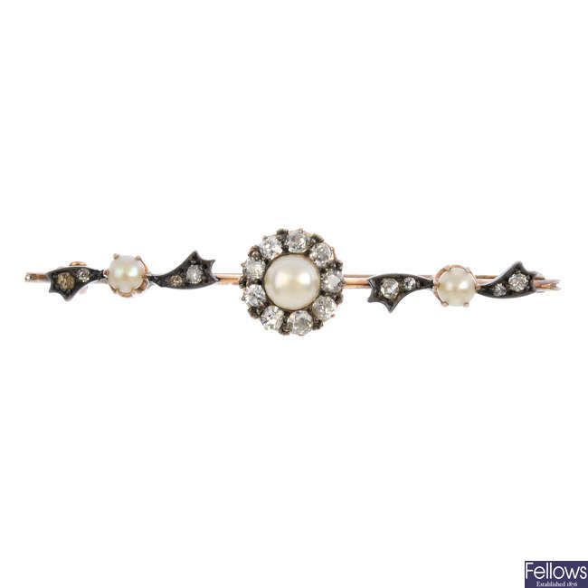 A late Victorian split pearl and diamond brooch.