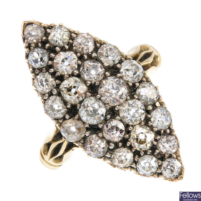 A late Victorian diamond marquise cluster ring.