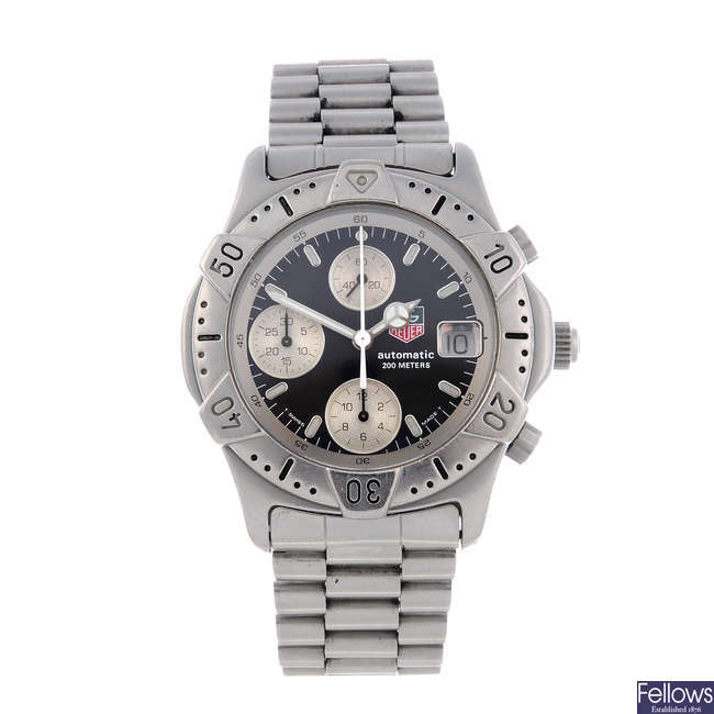 TAG HEUER - a gentleman's stainless steel 2000 Series chronograph bracelet watch.