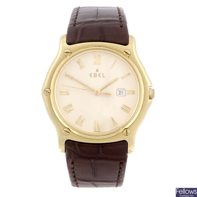 EBEL - a gentleman's 18ct yellow gold ClassicWave wrist watch.