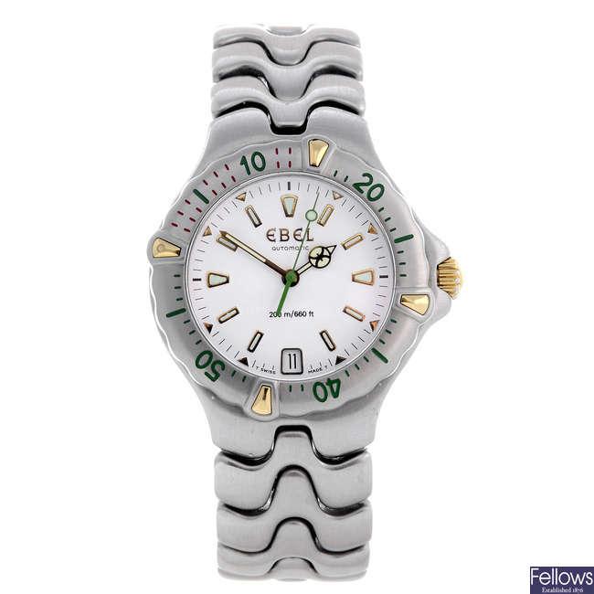 EBEL - a mid-size stainless steel SportWave bracelet watch.