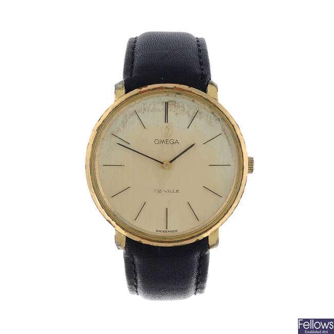 OMEGA - a gentleman's gold plated De Ville wrist watch together with a gentleman's gold plated De Ville watch head.