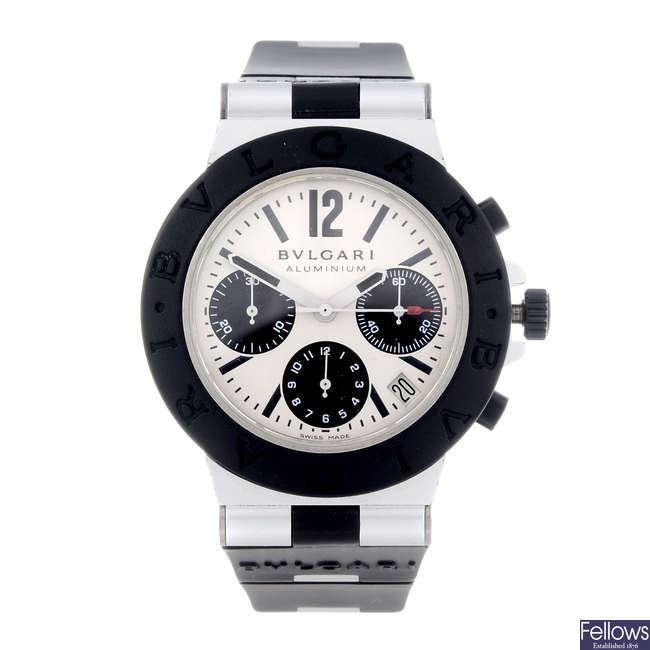 BULGARI - a gentleman's Aluminium chronograph wrist watch.