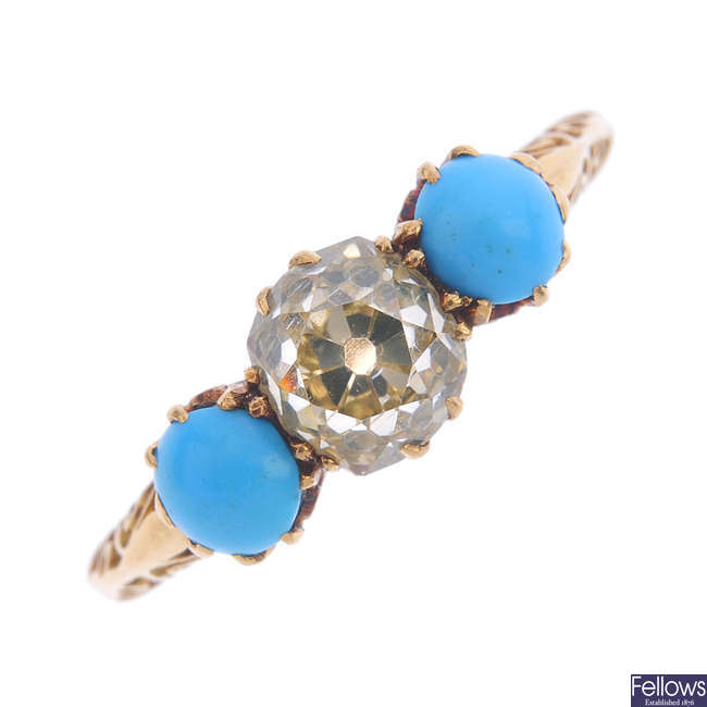 An early 20th century 18ct gold diamond and turquoise three-stone ring.