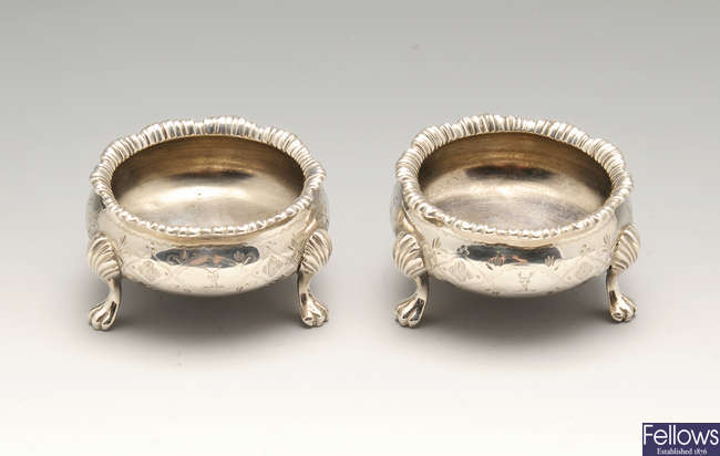 A pair of mid-Victorian silver open salts.
