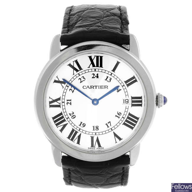 CARTIER - a stainless steel Santos Ronde Solo wrist watch.
