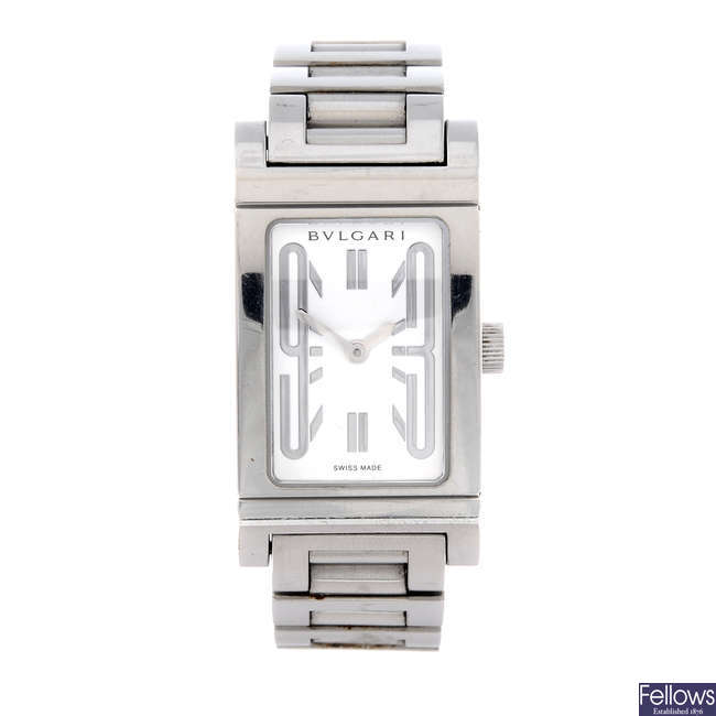 BULGARI - a lady's stainless steel Rettangolo bracelet watch.