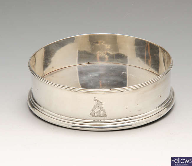 A George IV silver mounted coaster by William Bateman I