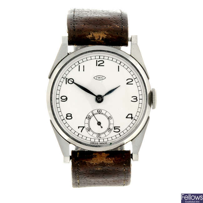 IWC - a mid-size stainless steel wrist watch.