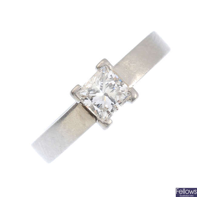 A platinum diamond single-stone ring.