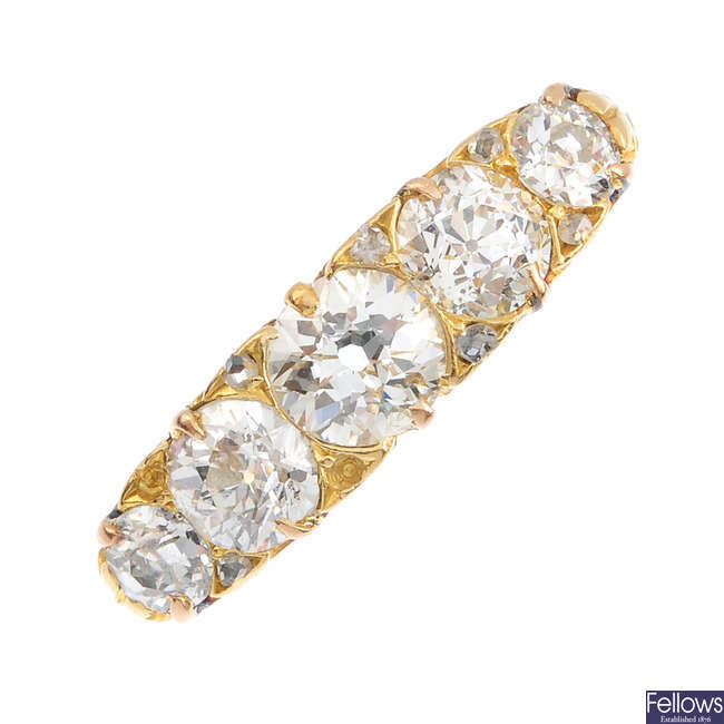 An early 20th century gold diamond five-stone ring.